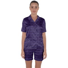 Color Of The Year 2018   Ultraviolet   Art Deco Black Edition Satin Short Sleeve Pyjamas Set