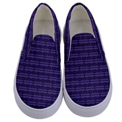 Color Of The Year 2018   Ultraviolet   Art Deco Black Edition Kids  Canvas Slip Ons
