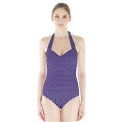 Color Of The Year 2018   Ultraviolet   Art Deco Black Edition 10 Halter Swimsuit