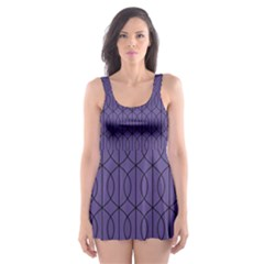Color Of The Year 2018   Ultraviolet   Art Deco Black Edition 10 Skater Dress Swimsuit
