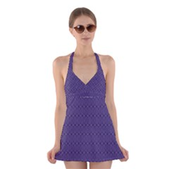Color Of The Year 2018   Ultraviolet   Art Deco Black Edition 10 Halter Dress Swimsuit