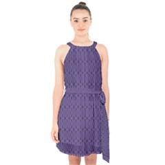Color Of The Year 2018   Ultraviolet   Art Deco Black Edition 10 Halter Collar Waist Tie Chiffon Dress