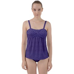 Color Of The Year 2018   Ultraviolet   Art Deco Black Edition 10 Twist Front Tankini Set