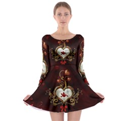 Wonderful Hearts With Dove Long Sleeve Skater Dress