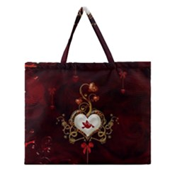 Wonderful Hearts With Dove Zipper Large Tote Bag