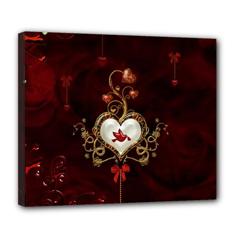 Wonderful Hearts With Dove Deluxe Canvas 24  X 20