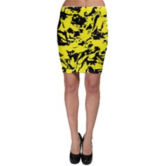 Yellow Black Abstract Military Camouflage Bodycon Skirt