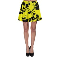 Yellow Black Abstract Military Camouflage Skater Skirt