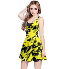 Yellow Black Abstract Military Camouflage Reversible Sleeveless Dress