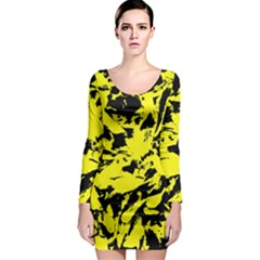 Yellow Black Abstract Military Camouflage Long Sleeve Bodycon Dress