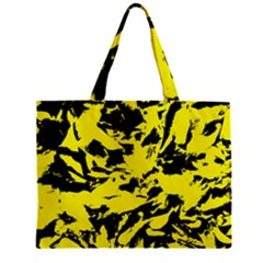 Yellow Black Abstract Military Camouflage Zipper Mini Tote Bag