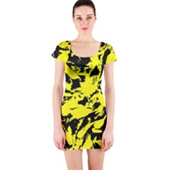 Yellow Black Abstract Military Camouflage Short Sleeve Bodycon Dress