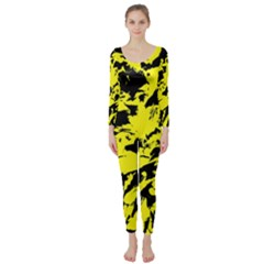 Yellow Black Abstract Military Camouflage Long Sleeve Catsuit