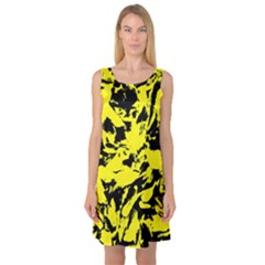 Yellow Black Abstract Military Camouflage Sleeveless Satin Nightdress