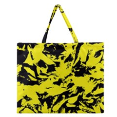 Yellow Black Abstract Military Camouflage Zipper Large Tote Bag