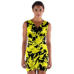 Yellow Black Abstract Military Camouflage Wrap Front Bodycon Dress