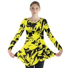 Yellow Black Abstract Military Camouflage Long Sleeve Tunic