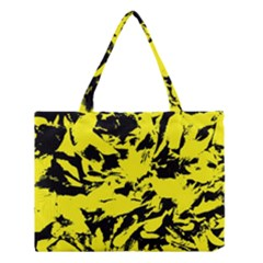 Yellow Black Abstract Military Camouflage Medium Tote Bag