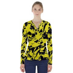 Yellow Black Abstract Military Camouflage V Neck Long Sleeve Top