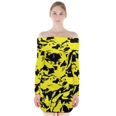 Yellow Black Abstract Military Camouflage Long Sleeve Off Shoulder Dress