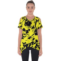 Yellow Black Abstract Military Camouflage Cut Out Side Drop Tee