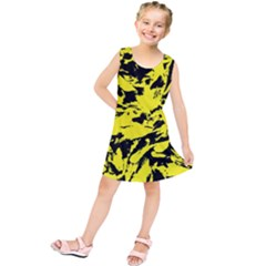 Yellow Black Abstract Military Camouflage Kids  Tunic Dress