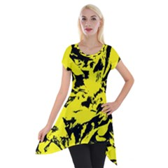 Yellow Black Abstract Military Camouflage Short Sleeve Side Drop Tunic