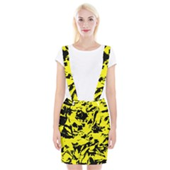 Yellow Black Abstract Military Camouflage Braces Suspender Skirt