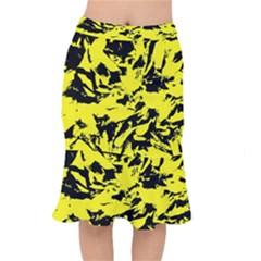 Yellow Black Abstract Military Camouflage Mermaid Skirt
