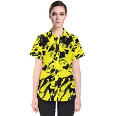 Yellow Black Abstract Military Camouflage Women s Short Sleeve Shirt