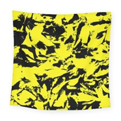 Yellow Black Abstract Military Camouflage Square Tapestry (large)