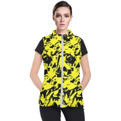 Yellow Black Abstract Military Camouflage Women s Puffer Vest