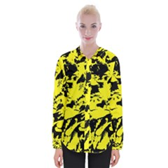 Yellow Black Abstract Military Camouflage Womens Long Sleeve Shirt