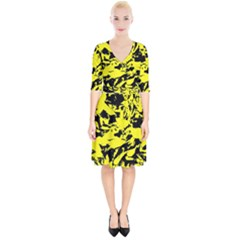 Yellow Black Abstract Military Camouflage Wrap Up Cocktail Dress