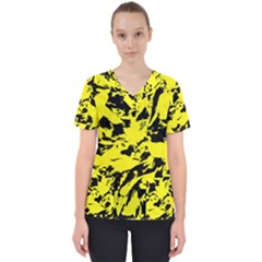 Yellow Black Abstract Military Camouflage Scrub Top