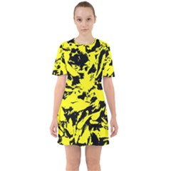 Yellow Black Abstract Military Camouflage Sixties Short Sleeve Mini Dress