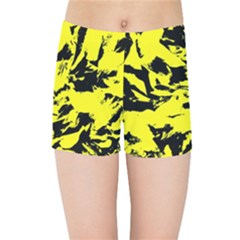 Yellow Black Abstract Military Camouflage Kids Sports Shorts