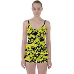 Yellow Black Abstract Military Camouflage Tie Front Two Piece Tankini