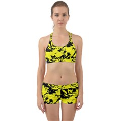 Yellow Black Abstract Military Camouflage Back Web Sports Bra Set