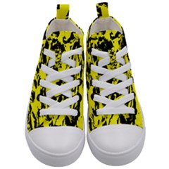 Yellow Black Abstract Military Camouflage Kid s Mid Top Canvas Sneakers