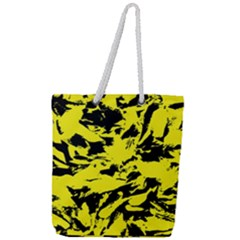 Yellow Black Abstract Military Camouflage Full Print Rope Handle Tote (large)