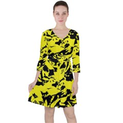 Yellow Black Abstract Military Camouflage Ruffle Dress