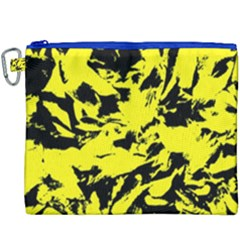 Yellow Black Abstract Military Camouflage Canvas Cosmetic Bag (xxxl)
