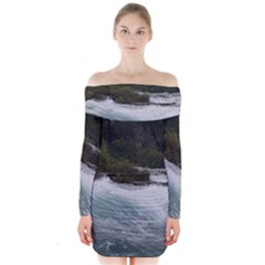 Sightseeing At Niagara Falls Long Sleeve Off Shoulder Dress