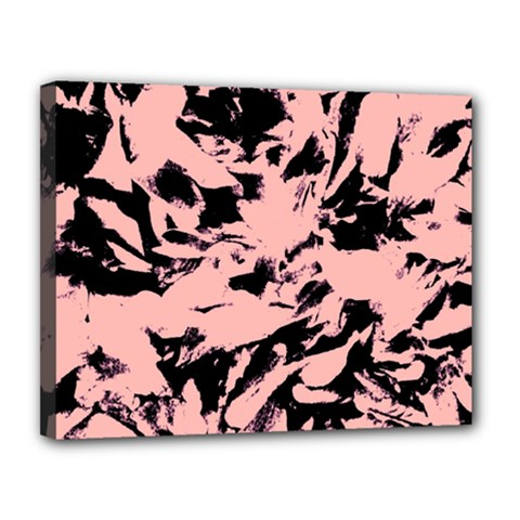 Old Rose Black Abstract Military Camouflage Canvas 14  X 11
