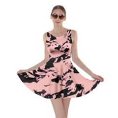 Old Rose Black Abstract Military Camouflage Skater Dress