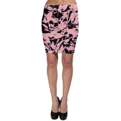 Old Rose Black Abstract Military Camouflage Bodycon Skirt