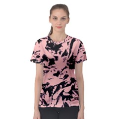 Old Rose Black Abstract Military Camouflage Women s Sport Mesh Tee