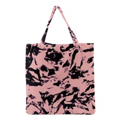 Old Rose Black Abstract Military Camouflage Grocery Tote Bag