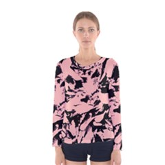Old Rose Black Abstract Military Camouflage Women s Long Sleeve Tee